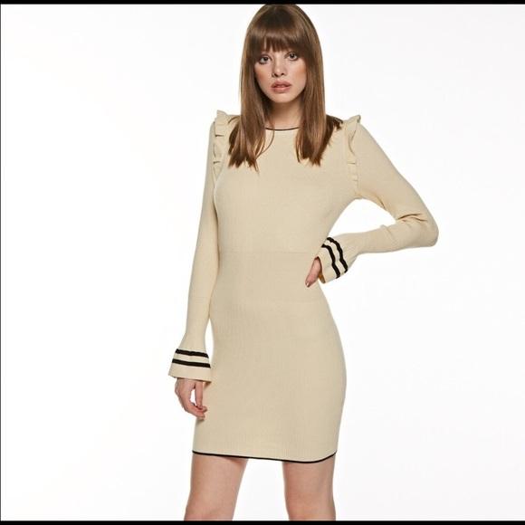 Aluna Levi Dresses & Skirts - ❤️HP❤️Taupe and Black Ruffle Sweater Dress